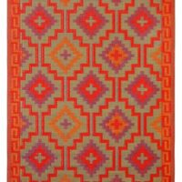 Lhasa - Orange & Violet Indoor outdoor rugs taupe side
