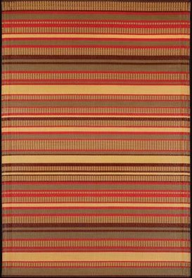 Mad Mats Stripes Indoor OutdoorRug, 5 by 8-Feet, Warm Brown
