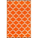 Exotic Outdoor Rug: Rich Tangerine & White Area Rug