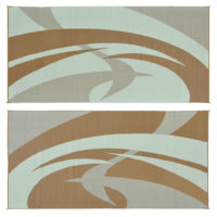 Reversible RV Patio Mats Brown & Beige Swirl Pattern Mat 9' X 18'