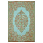 6 Feet by 9 Feet Istanbul Indoor Outdoor Rug, Taupe & Duck Egg Blue