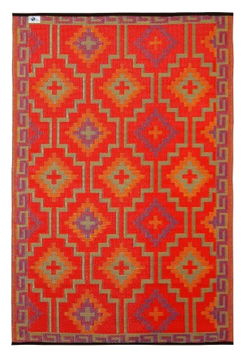 Lhasa - Orange & Violet Indoor outdoor rugs orange side