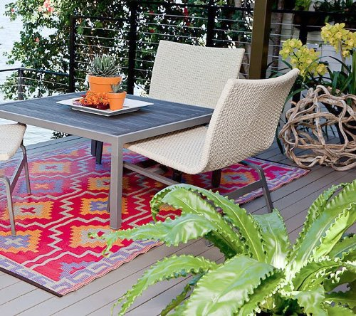 Lhasa - Orange & Violet Patio indoor outdoor rugs