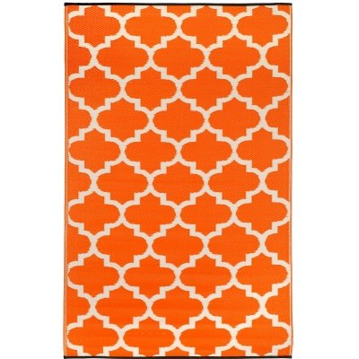 Fab Habitat Tangier Indoor Outdoor Rug, 4 by 6-Feet, Carrot and White