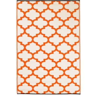 Tangier - Carrot & White outdoor rug is reversible