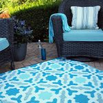 Classic Sea Foam Blue, Grey and White 6' x 9′ Indoor Outdoor Rug