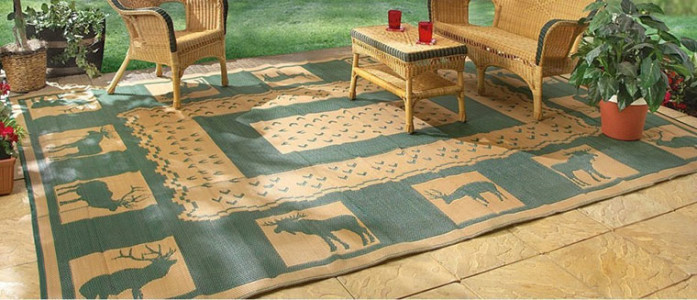 Guide Gear 6' x 9' Reversible Lodge Patio Mat Khaki Hunter Green