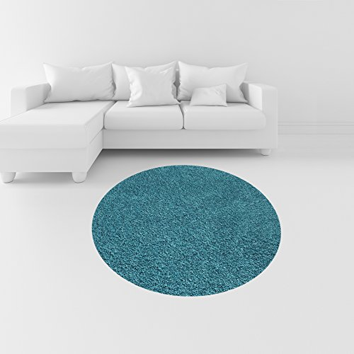 c929ee101a0bd3 Turquoise Blue Shag Area Rug Round 5' x 5', Maxy Home Bella Collection